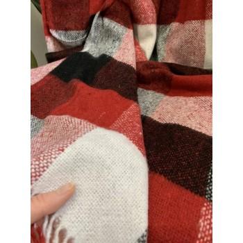 Плед шерстяной Палермо красно-черно-белый №8 фото 1