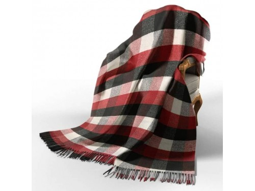 Плед шерстяной Палермо красно-черно-белый №8 4084 от Vladi в интернет-магазине PannaTeks