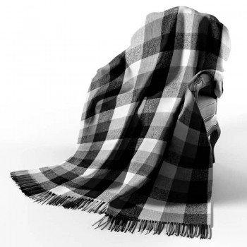 Плед шерстяной Vladi Палермо белый-серый-темно серый №8