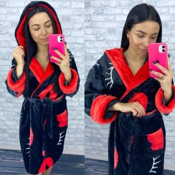 Женский теплый домашний халат велсофт Поцелуй 2127 от Modnyashka в интернет-магазине PannaTeks