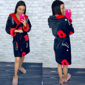 Женский теплый домашний халат велсофт Поцелуй фото 5