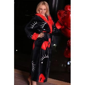 Женский теплый домашний халат велсофт Поцелуй фото 4