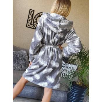 Женский теплый домашний халат велсофт Перышки фото 5