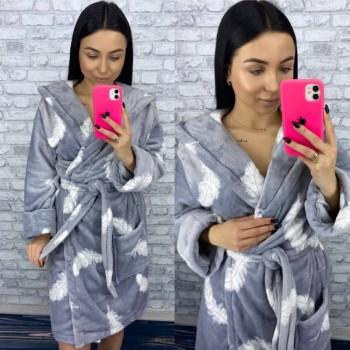 Женский теплый домашний халат велсофт Перышки фото 9