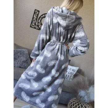 Женский теплый домашний халат велсофт Перышки фото 7