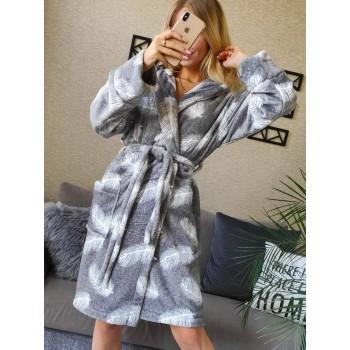 Женский теплый домашний халат велсофт Перышки фото 4