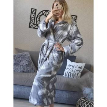 Женский теплый домашний халат велсофт Перышки фото 6