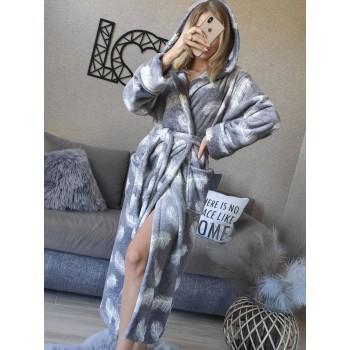 Женский теплый домашний халат велсофт Перышки фото 1