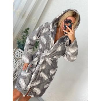 Женский теплый домашний халат велсофт Перышки фото 3