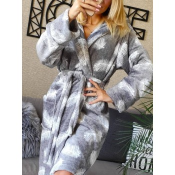 Женский теплый домашний халат велсофт Перышки фото 2