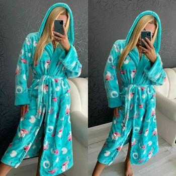 """Женский теплый домашний халат велсофт """"Фламинго"""" 2129 от Modnyashka в интернет-магазине PannaTeks"""