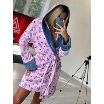 Женский теплый домашний халат велсофт Котики фото 2