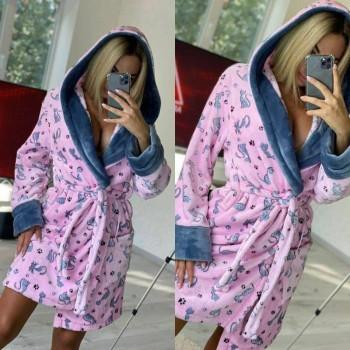 Женский теплый домашний халат велсофт Котики фото 3
