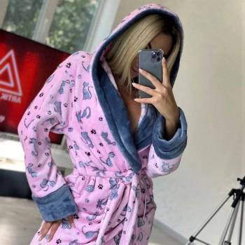 Женский теплый домашний халат велсофт Котики 2130 от Modnyashka в интернет-магазине PannaTeks