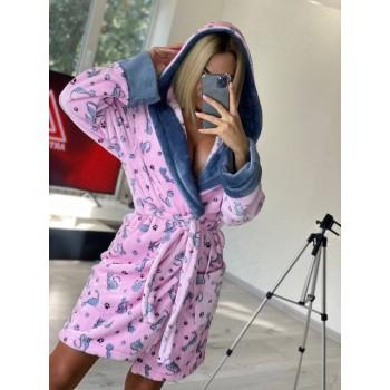 Женский теплый домашний халат велсофт Котики фото 4