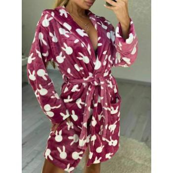 Женский теплый домашний халат велсофт Зайчики фото 1