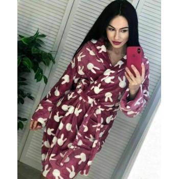 Женский теплый домашний халат велсофт Зайчики фото 2