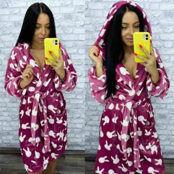 Женский теплый домашний халат велсофт Зайчики фото 3
