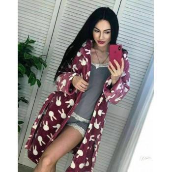 Женский теплый домашний халат велсофт Зайчики фото 4