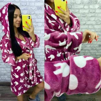 Женский теплый домашний халат велсофт Зайчики фото 7