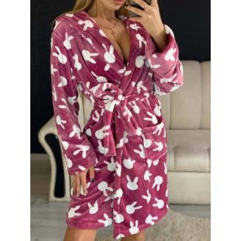 Женский теплый домашний халат велсофт Зайчики фото 9