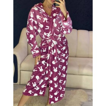 Женский теплый домашний халат велсофт Зайчики фото 10