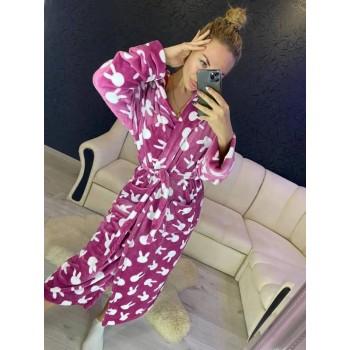 Женский теплый домашний халат велсофт Зайчики фото 11