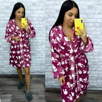 Женский теплый домашний халат велсофт Зайчики фото 14