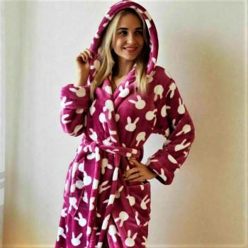 Женский теплый домашний халат велсофт Зайчики 2131 от Modnyashka в интернет-магазине PannaTeks