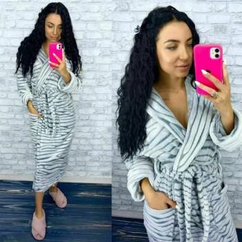 Женский теплый домашний халат велсофт Шиншилла фото 9
