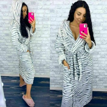Женский теплый домашний халат велсофт Шиншилла фото 4
