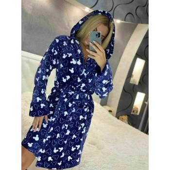 Женский теплый домашний халат велсофт Микки фото 2