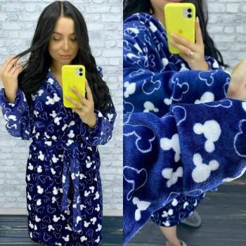 Женский теплый домашний халат велсофт Микки фото 4