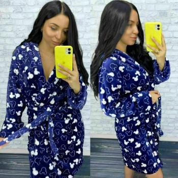 Женский теплый домашний халат велсофт Микки фото 5