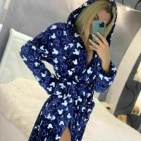 Женский теплый домашний халат велсофт Микки