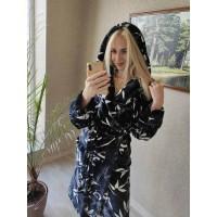 Женский теплый домашний халат велсофт Панды