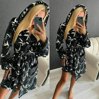 Женский теплый домашний халат велсофт Панды фото 1