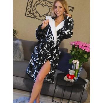Женский теплый домашний халат велсофт Панды фото 11