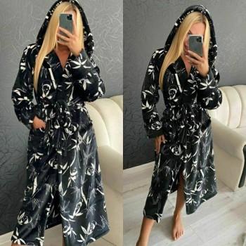 Женский теплый домашний халат велсофт Панды фото 2