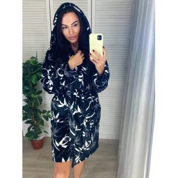 Женский теплый домашний халат велсофт Панды фото 8