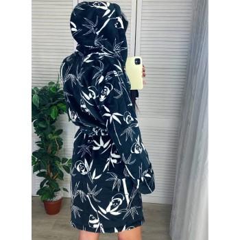 Женский теплый домашний халат велсофт Панды фото 7