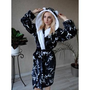 Женский теплый домашний халат велсофт Панды фото 12