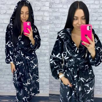 Женский теплый домашний халат велсофт Панды фото 9