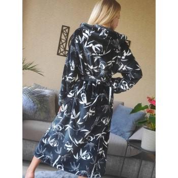 Женский теплый домашний халат велсофт Панды фото 6