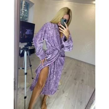 Женский теплый домашний халат велсофт Фиолетовые Розы фото 2