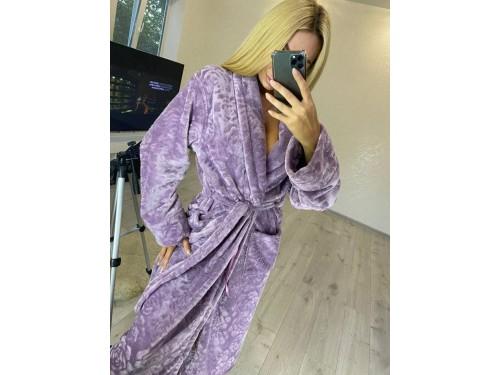 Женский теплый домашний халат велсофт Фиолетовые Розы 2136 от Modnyashka в интернет-магазине PannaTeks
