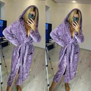 Женский теплый домашний халат велсофт Фиолетовые Розы фото 3