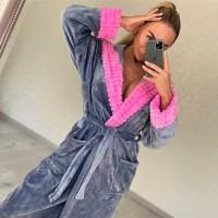 Женский теплый домашний халат велсофт Серо-розовый