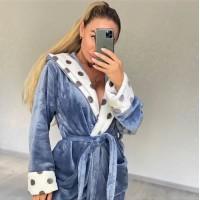 Женский теплый домашний халат велсофт Серые Горохи