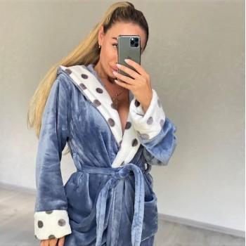 Женский теплый домашний халат велсофт Серые Горохи 2138 от Modnyashka в интернет-магазине PannaTeks